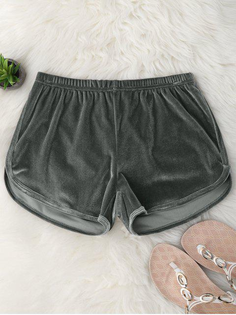 chic Elastic Waist Casual Velvet Shorts - GRAY M Mobile