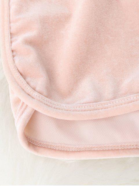 womens Elastic Waist Casual Velvet Shorts - PINK M Mobile