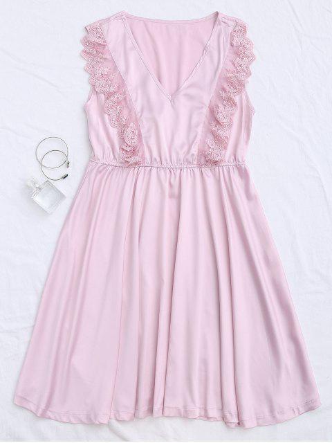 Lace Panel V Neck Satin Sleep Dress - ROSE PÂLE M Mobile