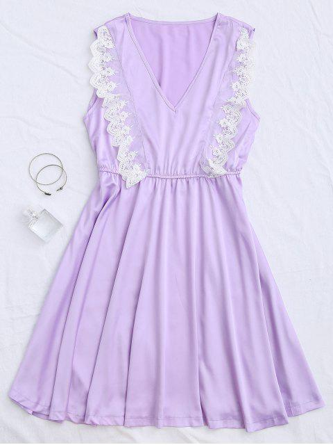 ladies Lace Panel V Neck Satin Sleep Dress - PURPLE L Mobile