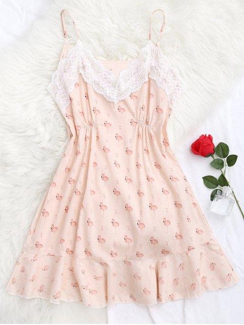 Robe de nuit imprimée flamant embelli panneau dentelle - Rose  S Mobile