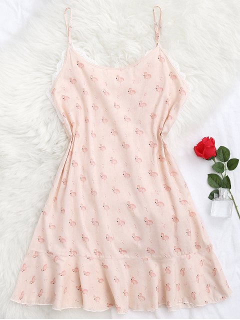 latest Flamingo Print Lace Panel Cami Sleep Dress - PINK S Mobile