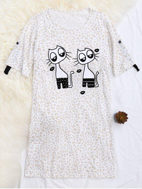 affordable Padded Cartoon Leopard Print T-Shirt Loungewear - APRICOT M Mobile