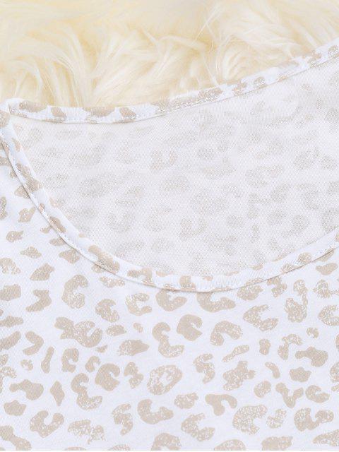 T-shirt à imprimé léopard rembourré à motifs imprimés - Abricot S Mobile