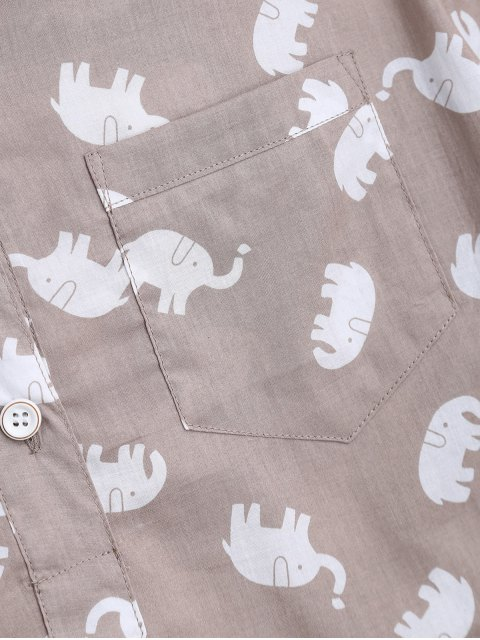 women's Elephant Print Blouse with Shorts Loungewear - LIGHT KHAKI M Mobile