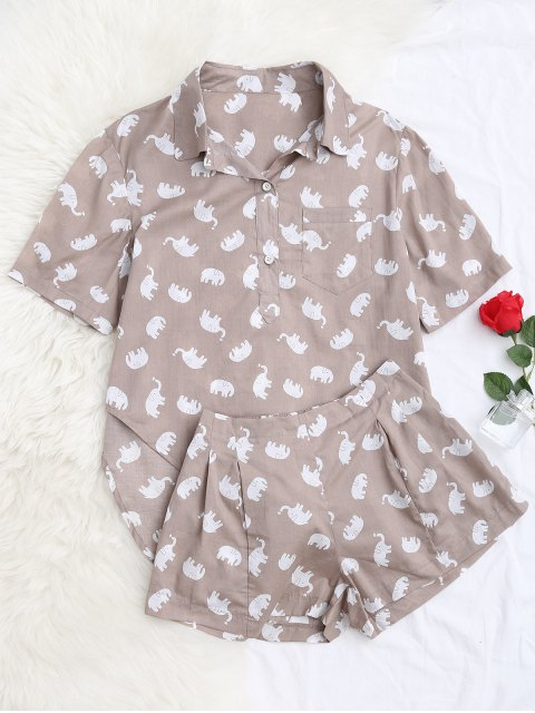 Elefanten Print Bluse mit Shorts Loungewear - Helles Khaki M Mobile