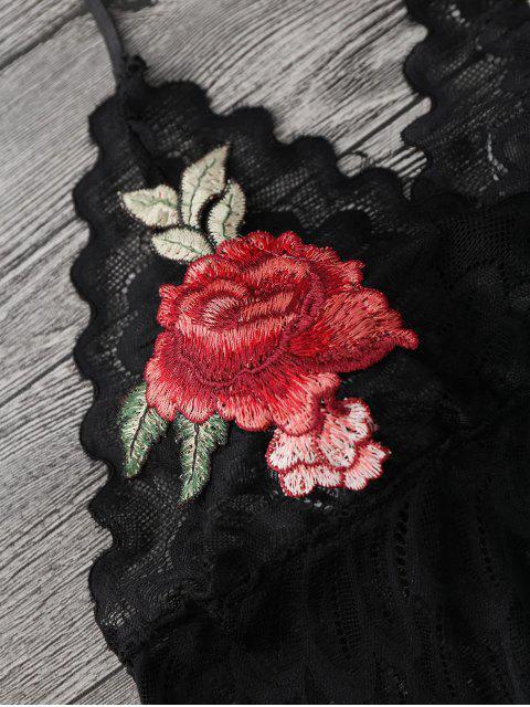 chic Sheer Lace Floral Longline Bralette Top - BLACK M Mobile