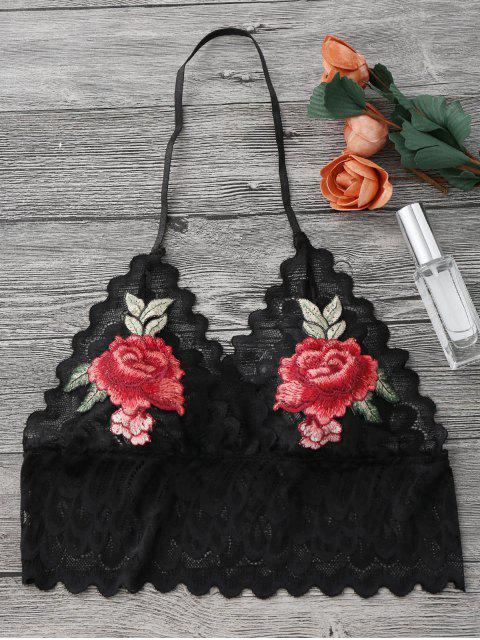 Brassière sans armature transparent en dentelle avec décoration floral - Noir S Mobile