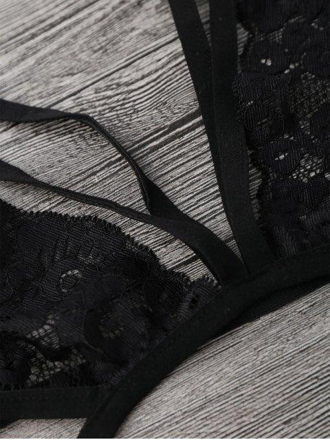 sale Sheer Lace Caged Lingerie Bra - BLACK L Mobile