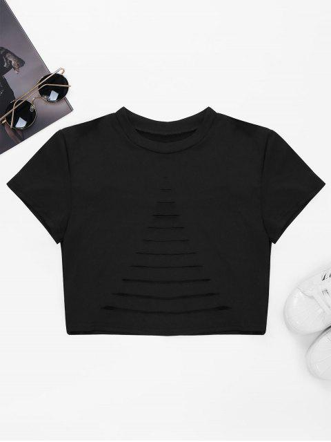 women's Ripped Front Cropped T-Shirt - BLACK M Mobile