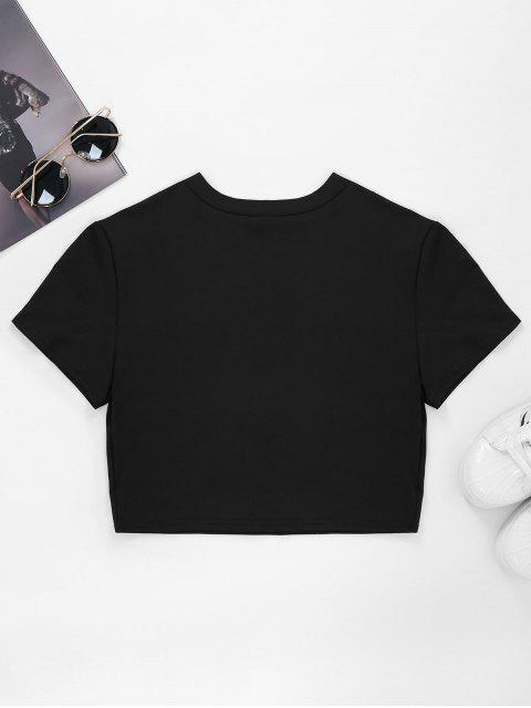 lady Ripped Front Cropped T-Shirt - BLACK XL Mobile