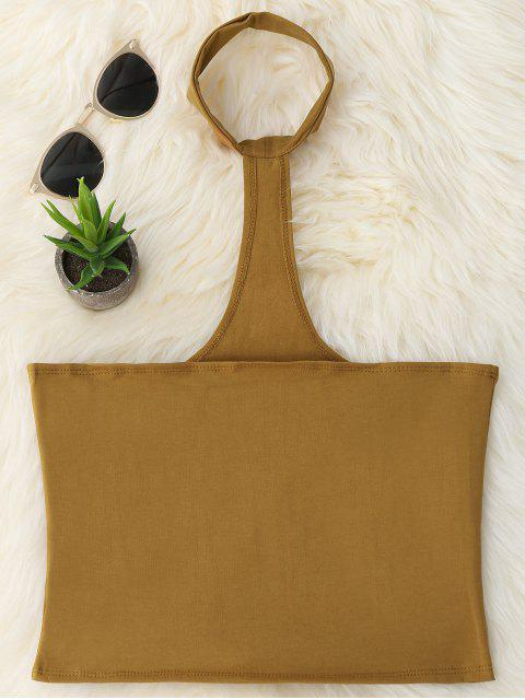 online Cropped Racerback Tank Top - COFFEE ONE SIZE Mobile