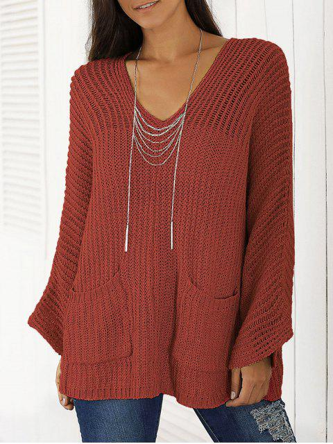 outfits V Neck Chunky Sweater - WINE RED ONE SIZE Mobile
