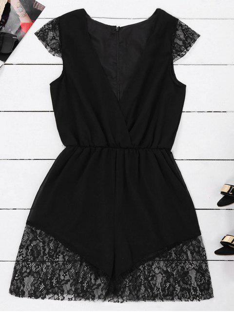 shop Lace Panel Plunge Sleeveless Chiffon Romper - BLACK S Mobile