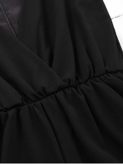 Combishorts en mousseline de soie col plongeant panneau en dentelle sans manche - Noir L Mobile