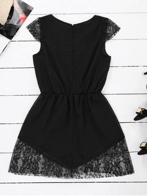 trendy Lace Panel Plunge Sleeveless Chiffon Romper - BLACK XL Mobile