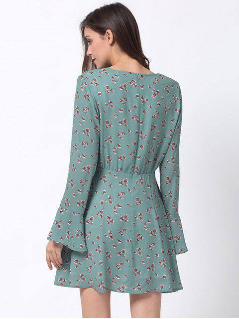outfit Tiny Floral Flare Sleeve Chiffon Dress - ICE BLUE M Mobile