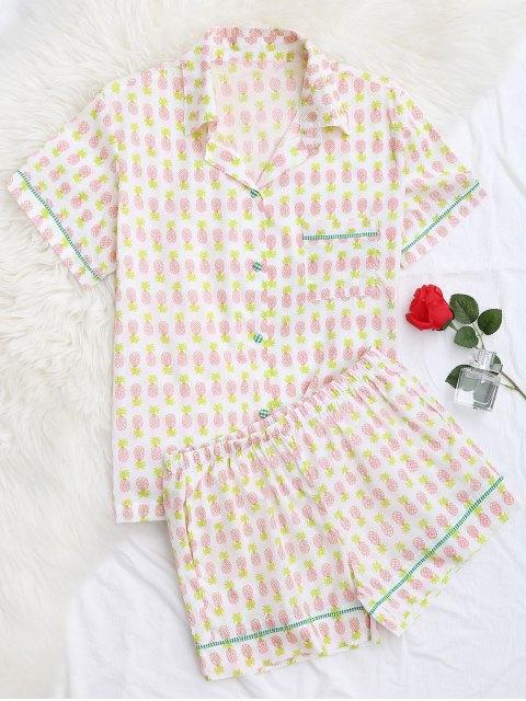 Pocket Ananas Shirt mit Shorts Loungewear - Weiß XL  Mobile