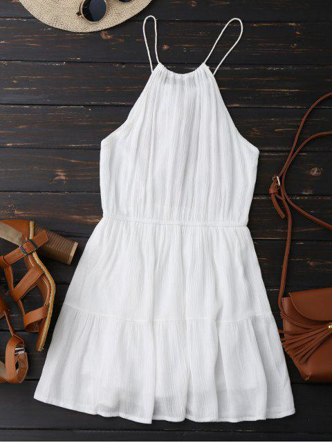 ladies Embroidered Tassel Sundress - WHITE ONE SIZE Mobile