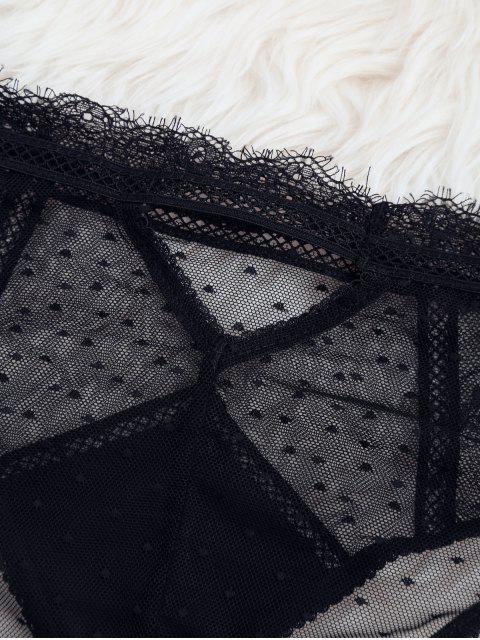 Voir à travers les culottes en dentelle haute taille - Noir S Mobile