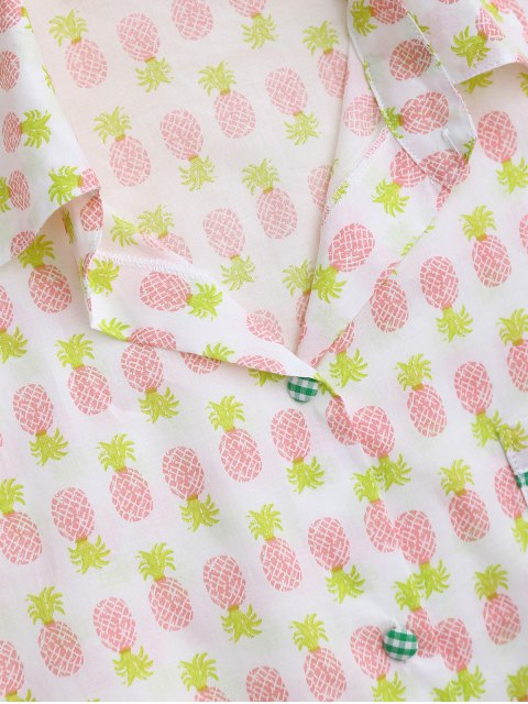 online Pocket Pineapple Shirt with Shorts Loungewear - WHITE M Mobile