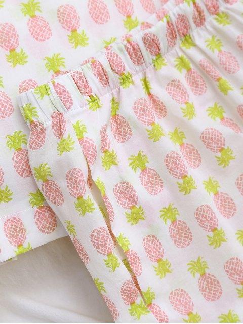 Vêtements de salon chemisier imprimé ananas avec poche et shorts - Blanc S Mobile