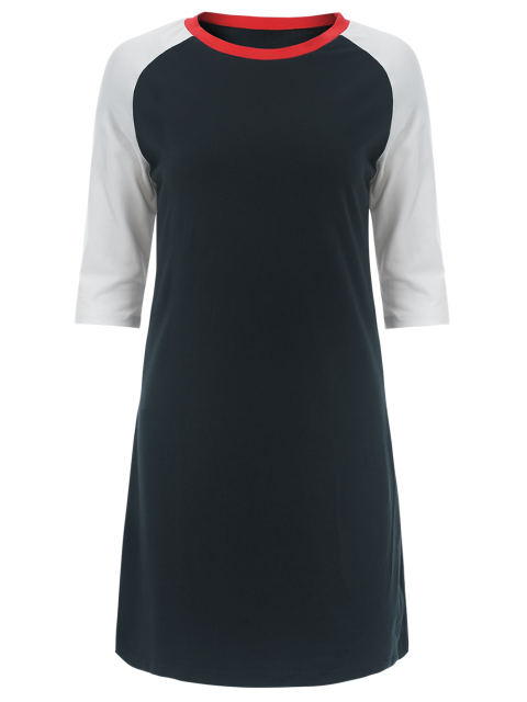 latest Raglan Sleeve Tunic T-Shirt Dress - PURPLISH BLUE L Mobile