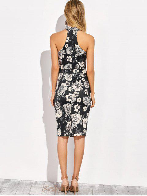 online Halter Neck Floral Print Pencil Dress - FLORAL XL Mobile