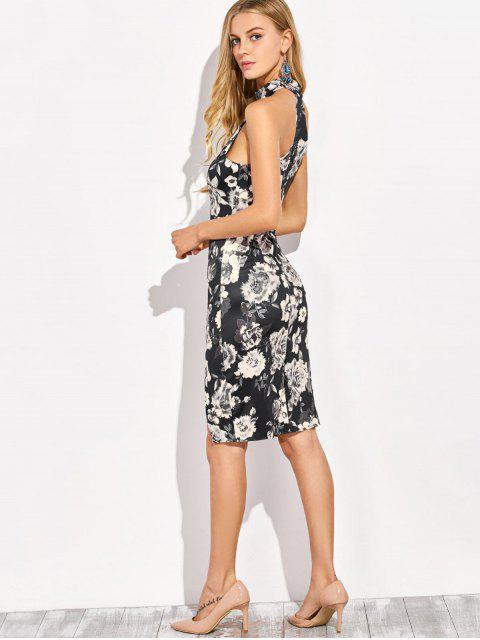 new Halter Neck Floral Print Pencil Dress - FLORAL L Mobile