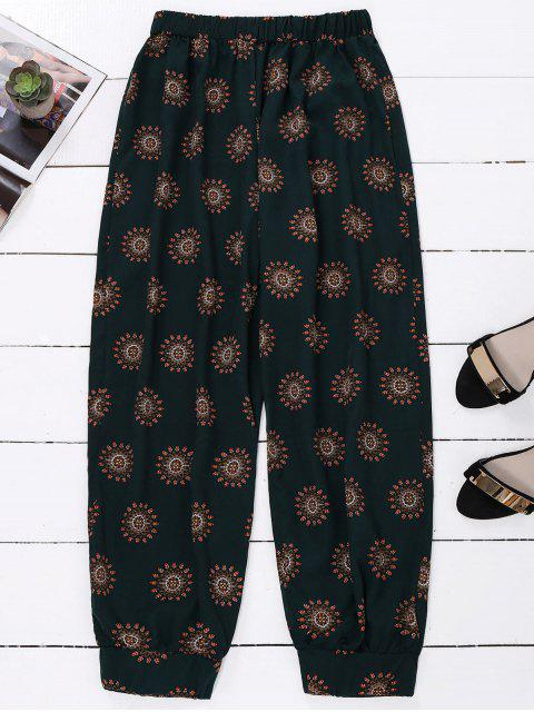 fashion Print Harem Holiday Pants - BLACKISH GREEN ONE SIZE Mobile
