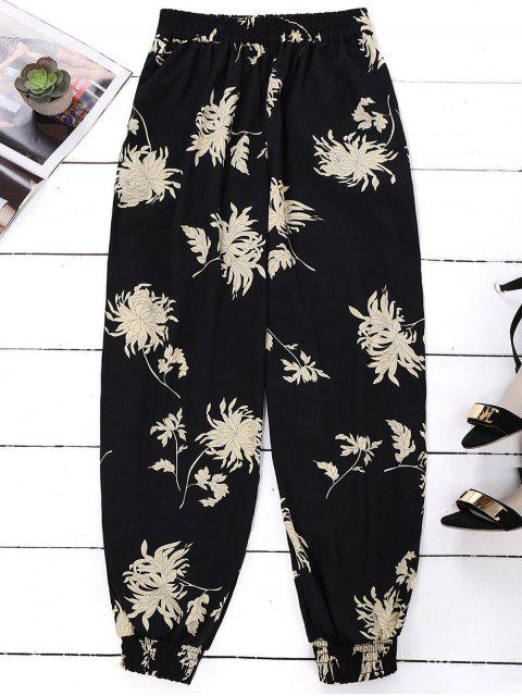 chic Floral Print Bloomer Holiday Pants - BLACK ONE SIZE Mobile