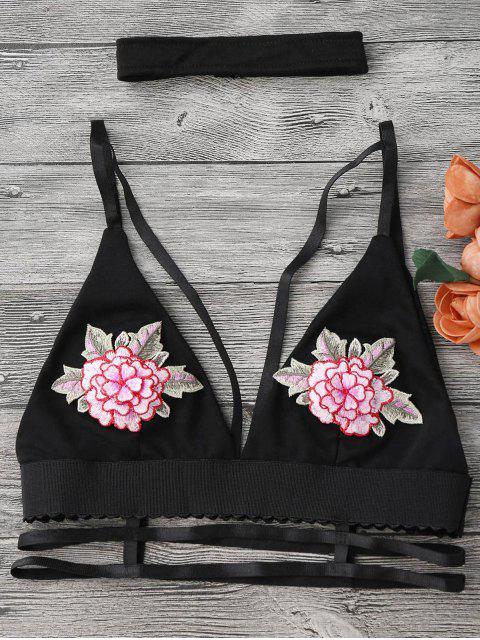 Soutient-gorge sans armature à bretelle décoré de pièces florales avec un collier ras du cou - Noir S Mobile