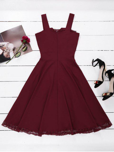 women Lace Panel Sleeveless Fit and Flare Dress - WINE RED L Mobile