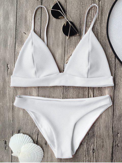 sale Cami Plunge Bralette Bikini Top and Bottoms - WHITE S Mobile