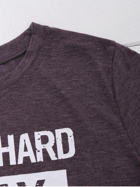 women's Crew Neck Slogan Print Graphic T-Shirt - LIGHT PURPLE L Mobile