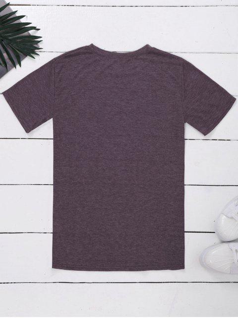 ladies Crew Neck Slogan Print Graphic T-Shirt - LIGHT PURPLE XL Mobile