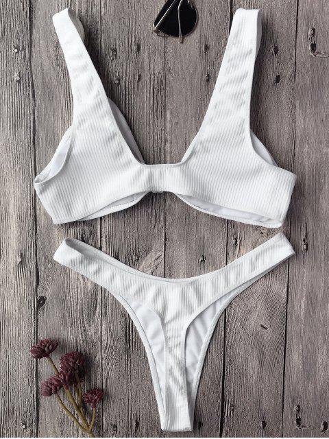 Ensemble de bikini brassière slip texturé avec nœud noué avant - Blanc S Mobile