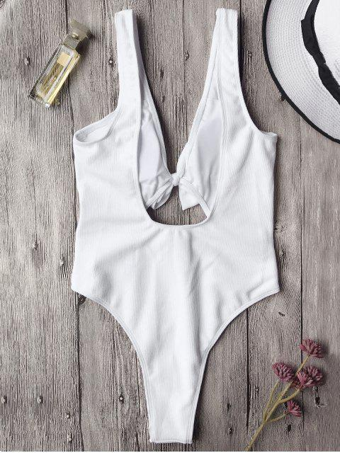 outfits Bowknot Textured High Cut One Piece Swimsuit - WHITE S Mobile