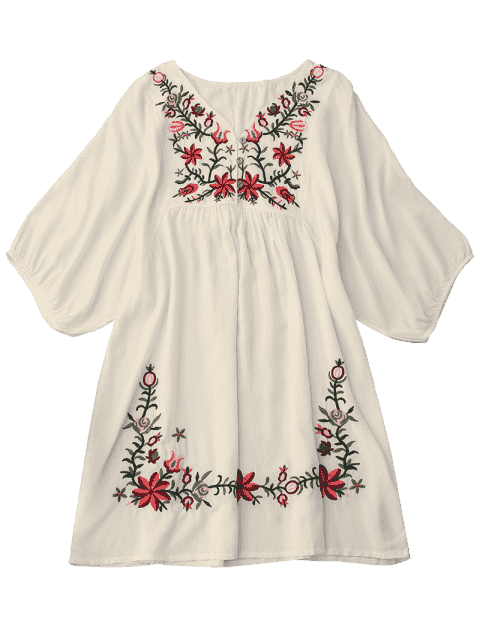 new Floral Embroidered V Neck Peasant Dress - PALOMINO ONE SIZE Mobile
