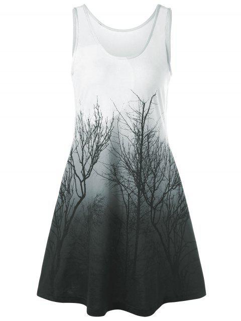 Baum Nacht Szene gedruckt Mini-Tank-Kleid - Grün Grau  L Mobile
