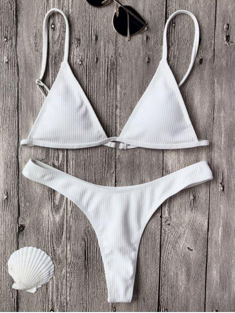 buy Textured Plunge Bikini Top and Thong Bottoms - WHITE S Mobile