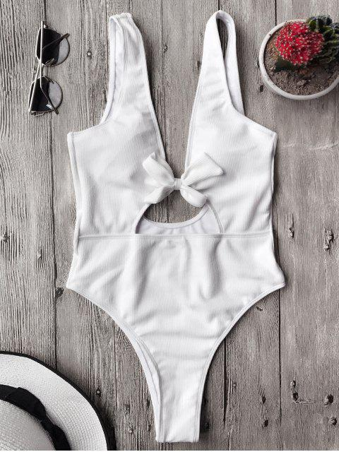 Schleifedetail texturierter hohe Taille einteiliger Badeanzug - Weiß L Mobile