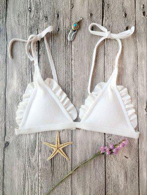 Bikini Tren Superior Texturizado Acanalado Con Volantes - Blanco M