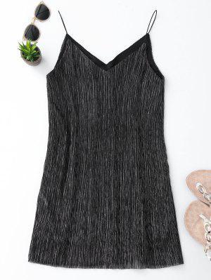 See Through Glittered Club Dress - Gris M