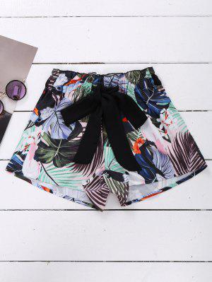 Tie Front Plant Print Beach Shorts - M