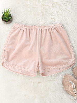 Elastic Waist Casual Velvet Shorts - Pink M