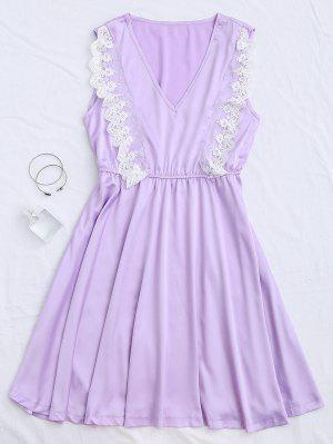 Lace Panel V Neck Satin Sleep Dress - Purple S