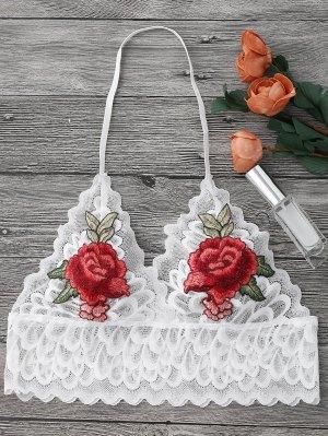 Brassière Sans Armature Transparent En Dentelle Avec Décoration Floral - Blanc Xl