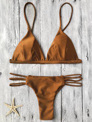 Haut De Bikini Paddé + Bas à Lacet Tricot - Brun L