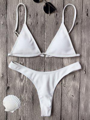 Haut De Bikinis Texturé à Col Plongeant + Bas Lacet - Blanc S
